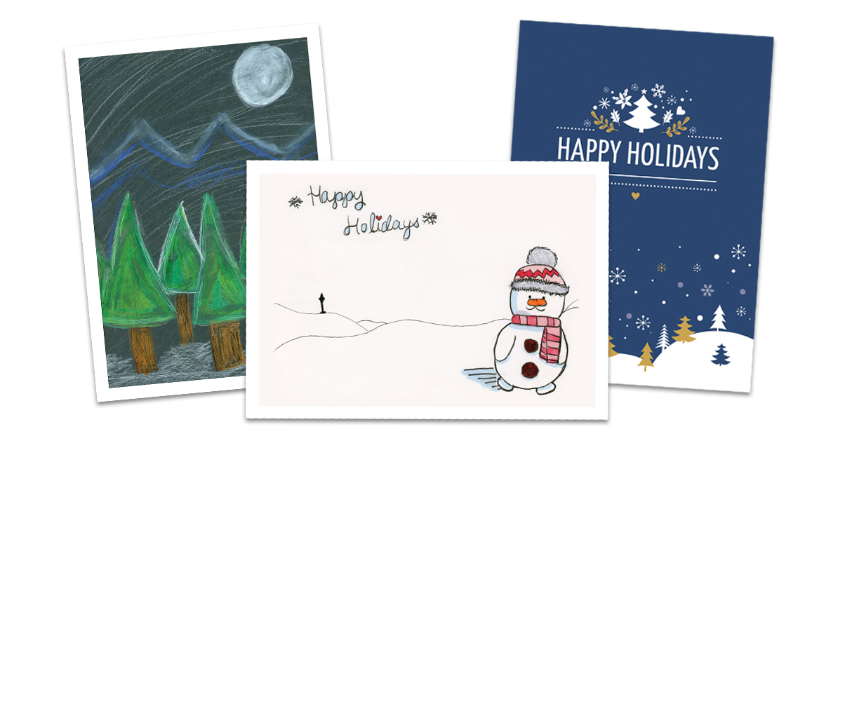 Three images of holiday cards