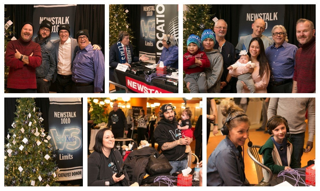 Collage of photos of people participating in Radiothon