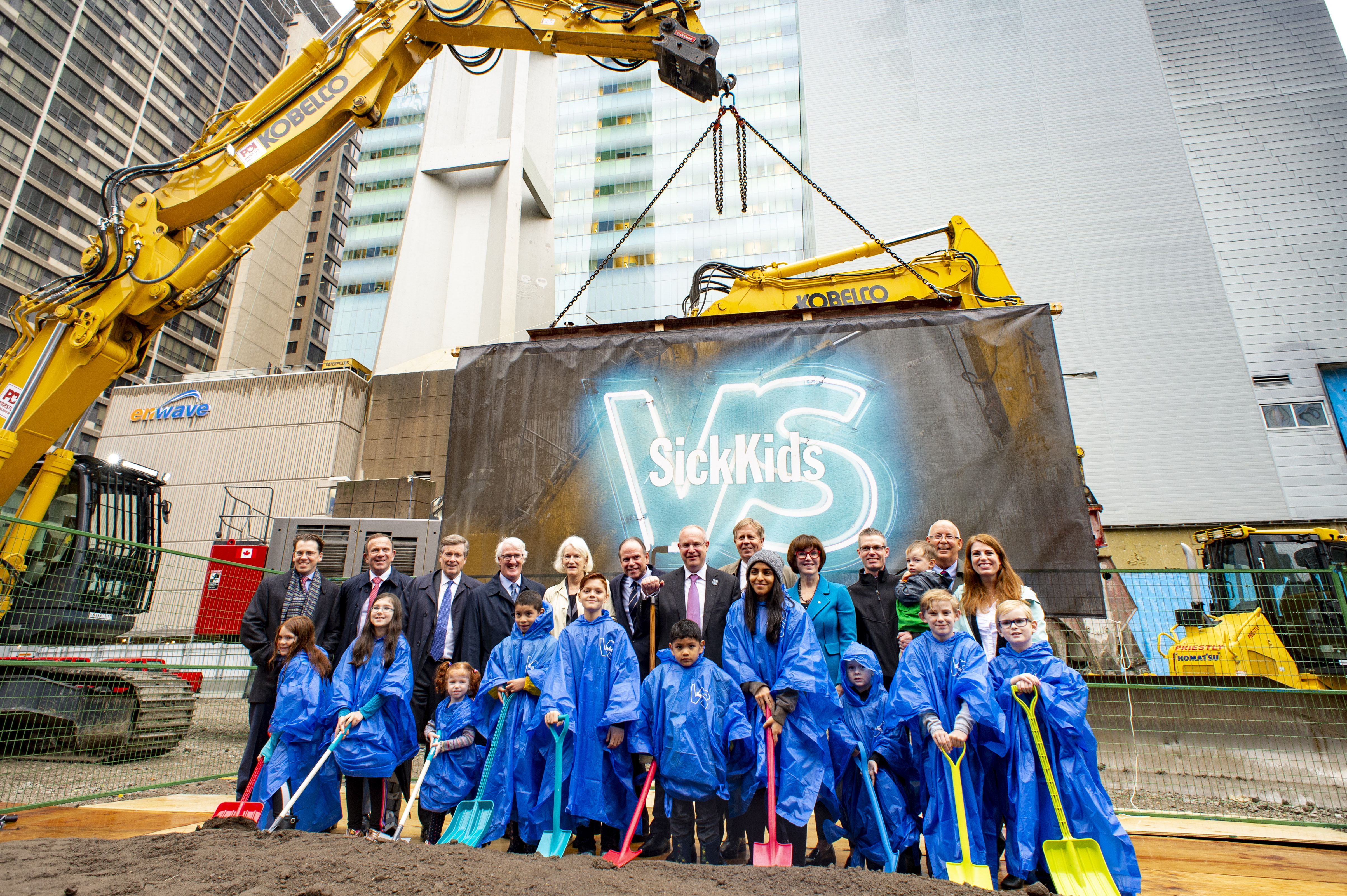 Groundbreakers and SickKids Patients attend the ground breaking ceremony