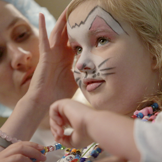 SickKids patient with face paint