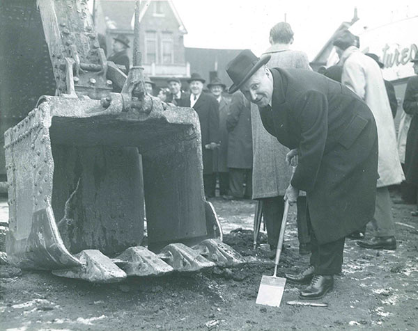 Photo of Premier George A. Drew turning the sod on the new SickKids building in 1947