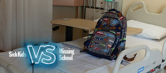 backpack on hospital bed